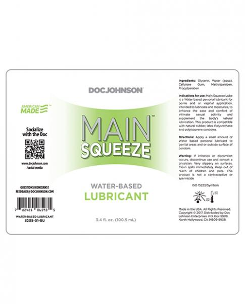 Main Squeeze Water Based Lubricant 3.4 fluid ounces