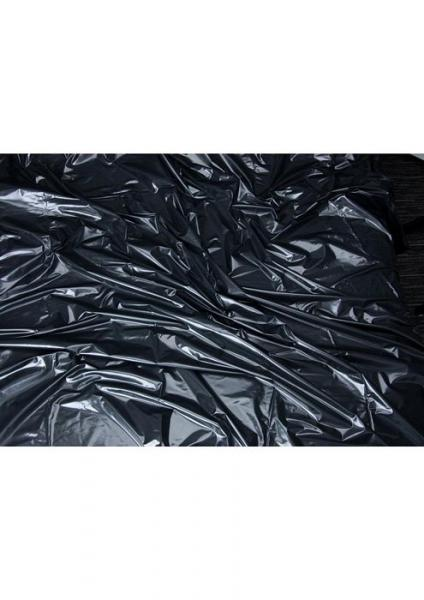 Lux Fetish Vinyl Bed Sheet California King Flat Black