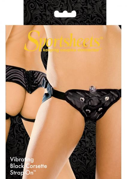 Vibrating Corsette Strap On Harness Black