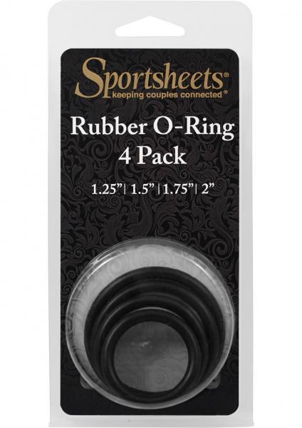 Sportsheets Rubber Rings 4 Pack Black