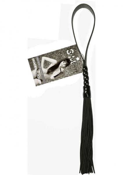 Sex And Mischief Beaded Flogger Noir Whip 16 Inch Black