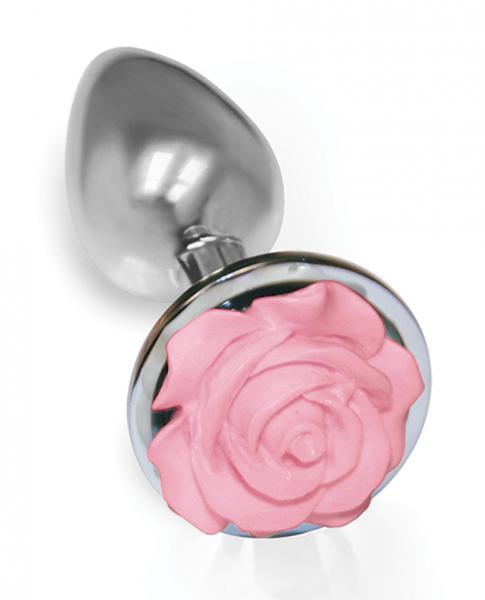 The Silver Starter Rose Floral Steel Butt Plug Pink