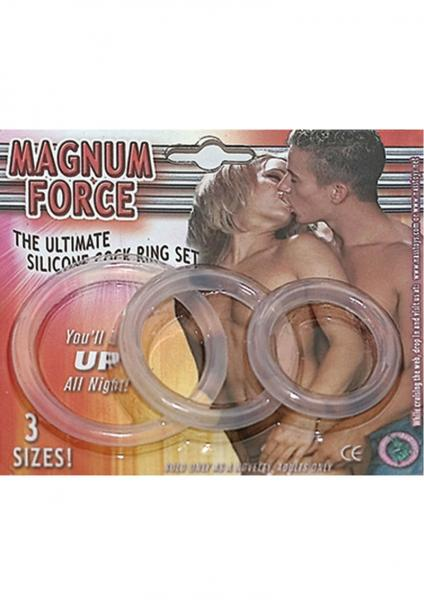 Magnum Force The Ultimate Silicone Cock Ring Set 3 Sizes Clear