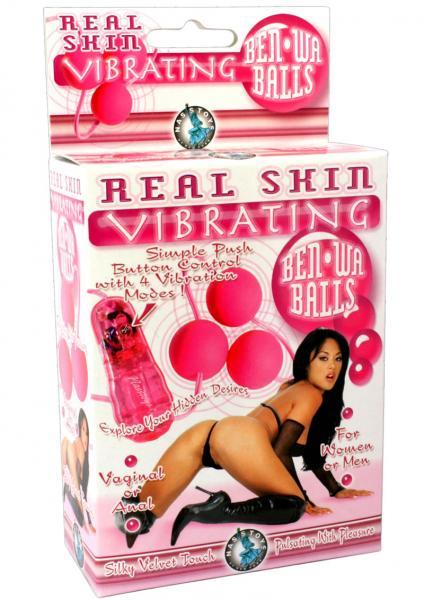 Real Skin Vibrating Ben Wa Balls - Pink