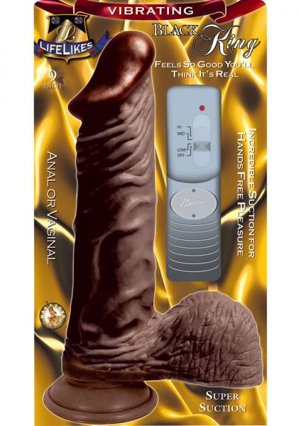 Lifelikes Vibrating Black King Vibrator 9 Inch Brown