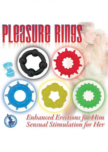 Pleasure Rings Set Of 5 Cockrings Waterproof