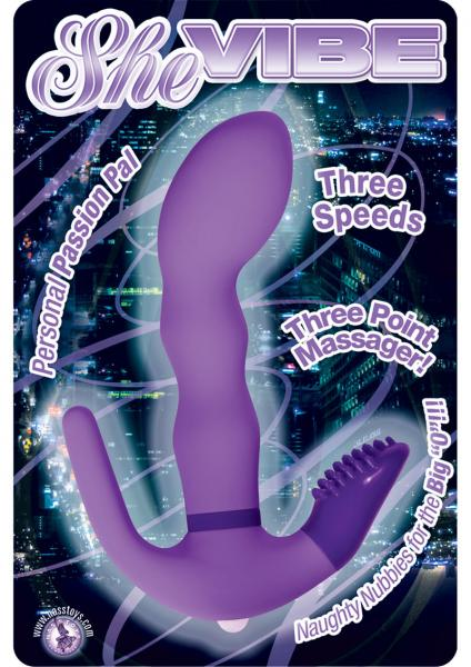 She Vibe 3 Speed 3 Point Massager 6 Inch Purple