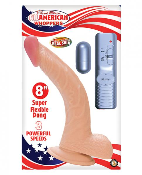 All American Whopper 8 inches Curved Vibrating Dong, Balls Beige