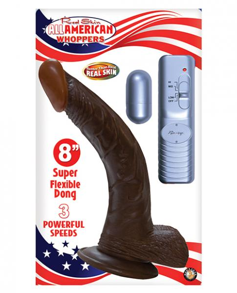 All American Whopper 8 inches Curved Vibrating Dong, Balls Brown