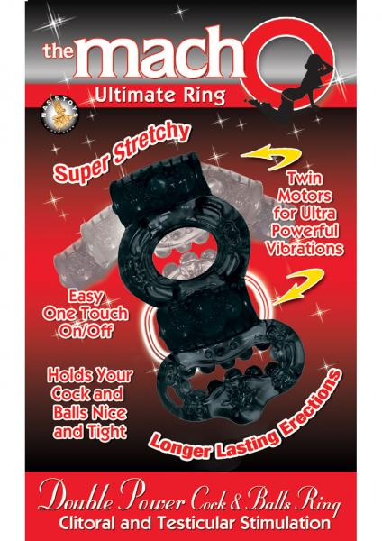 Double Power Cock and Balls Ring - Black