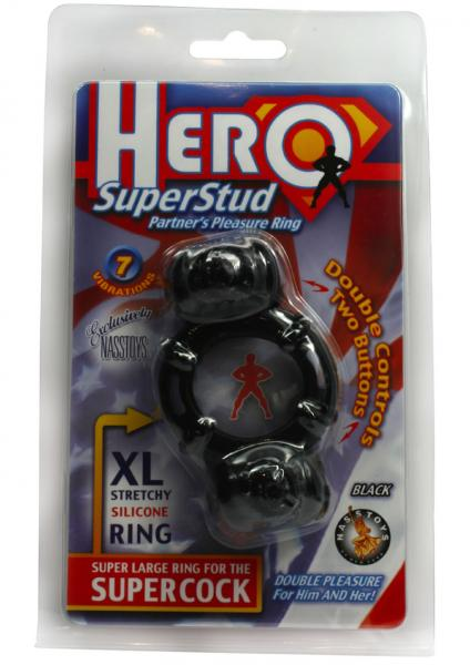 Hero Super Stud Partners Pleasure Ring XL Stretchy Silicone Ring Black
