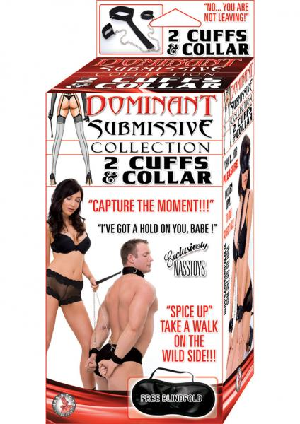 Dominant Submissive 2 Cuffs And Collar Black