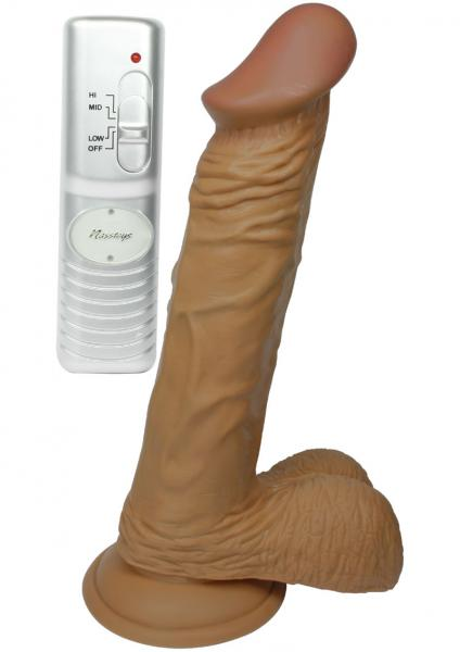 Real Skin Latin American Whoppers Vibrating Dong With Balls 8 Inch - Brown