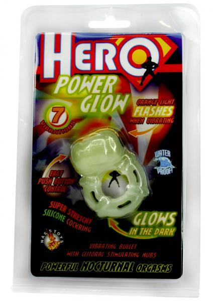 Hero Power Glow Glow In The Dark Cockring Waterproof Green