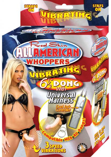 All American Whoppers 6.5in Vibrating Dong Universal Harness