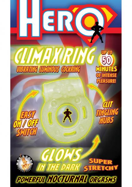Hero Climax Vibrating C Ring - Glow In The Dark