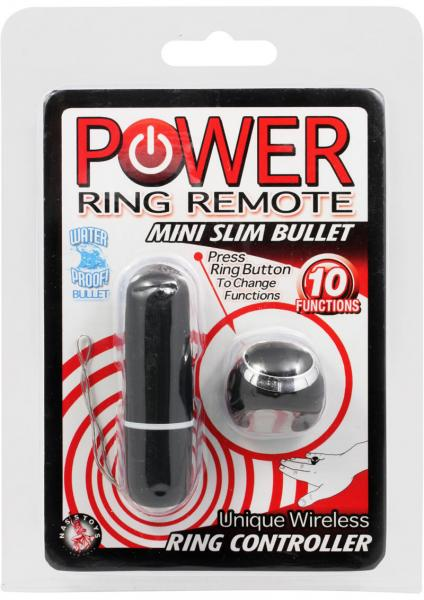 Power Ring Remote Mini Slim Bullet Vibrator Black