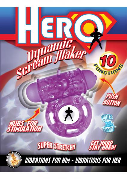 Hero Dynamic Scream Maker Cockring Waterproof Purple