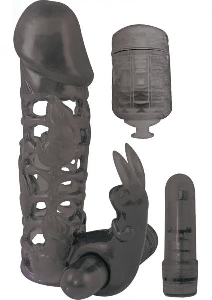 Clit Tickler Penis Extender Vibrating Sleeve Black