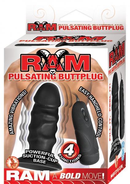 Ram Pulsating Buttplug Waterproof Black 4 Inch