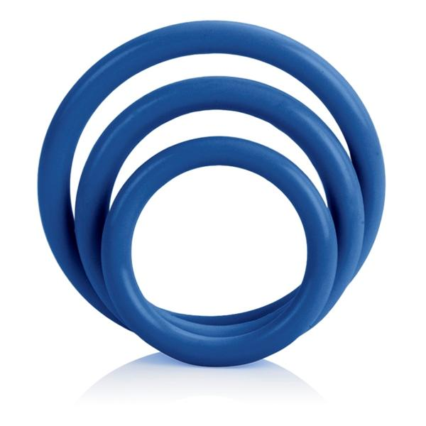 Tri Rings Blue Cock Ring Set Blue