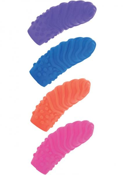 Posh Silicone Finger Swirls Finger Massagers Assorted Colors 4 Per Pack