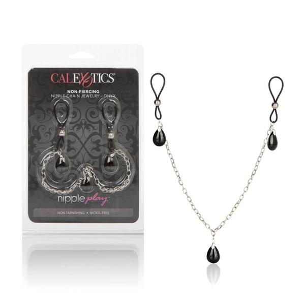 Nipple Play Non Piercing Nipple Chain Jewelry Onyx