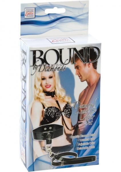 Bound By Diamonds Diamond Leash and Collar Set Black