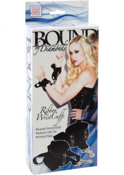 Bound By Diamonds Ribbon Wrist Cuffs Black