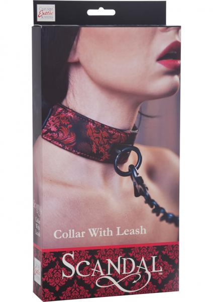 Scandal Collar With Leash Red Black O/S