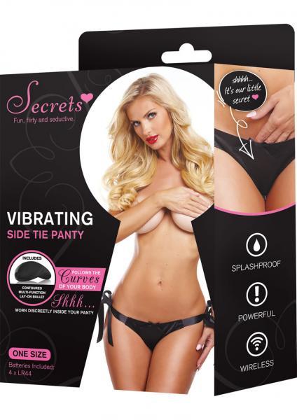 Secrets Vibrating Side Tie Panty Black OS