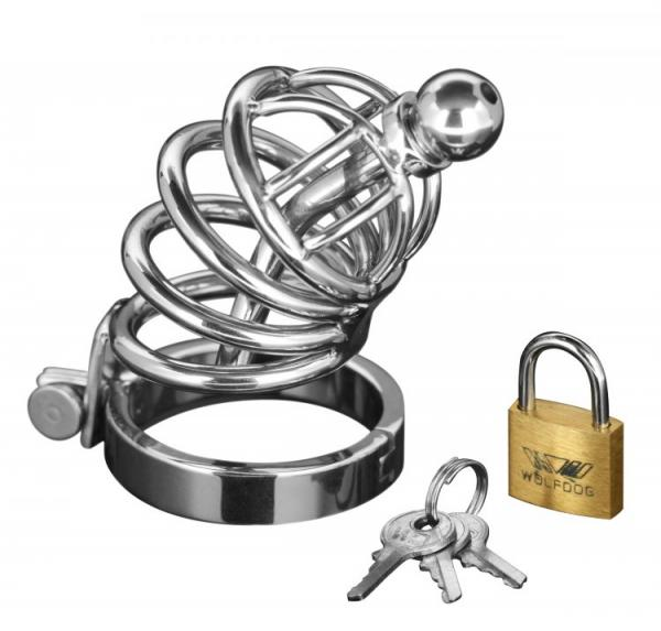 Asylum 4 Ring Chastity Cage Urethral Plug S/M
