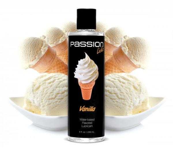 Passion Licks Vanilla Water Based Flavored Lubricant 8oz