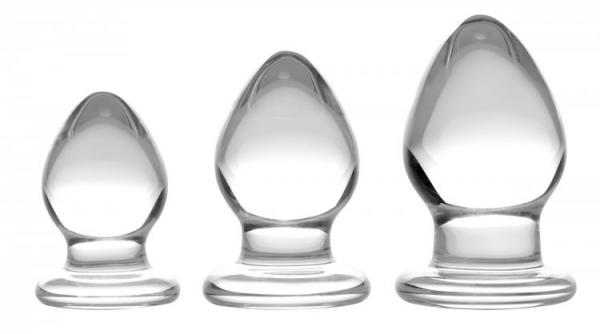 Triplets 3 Piece Glass Anal Plug Kit Clear