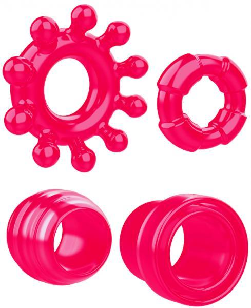 Ring The Alarm Red Cock Ring Set 4 Pack