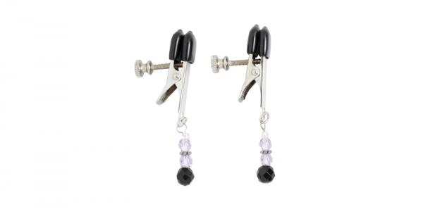 Adjustable Broad Tip Nipple Clamps W/Purple Beads