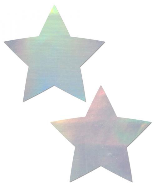 Pastease Holographic Star Silver Pasties O/S