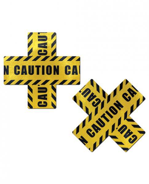 Pastease Caution Cross X Black Yellow Pasties O/S
