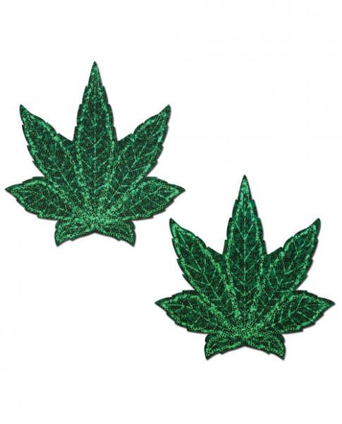 Pastease Glitter Marijuana Leaf Green Pasties O/S