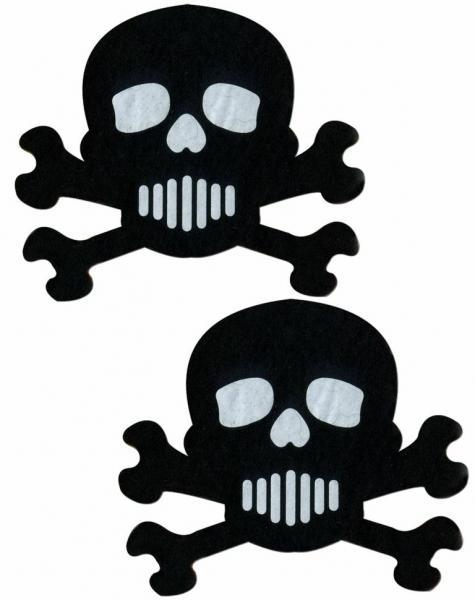 Skull Crossbones Black White Pasties O/S