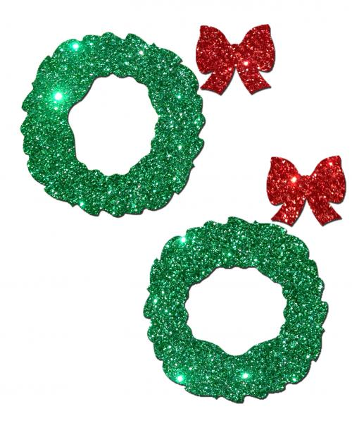 Wreath with Bows Glitter Green Red Pasties