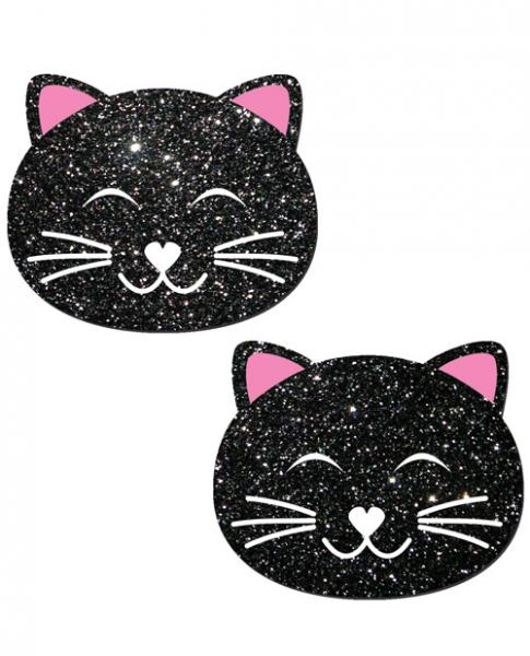 Kitty Black Glitter Cat Pasties O/S