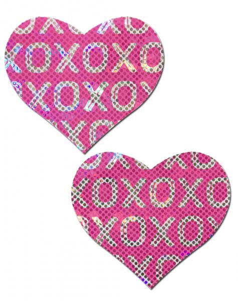 Pastease Glitter XOXO Heart Pasties Pink White O/S