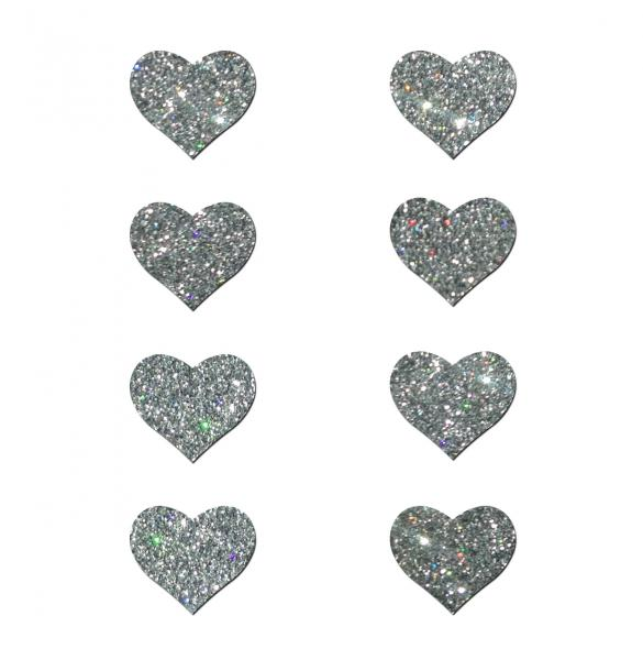 Pastease Mini Glitter Hearts Silver Pack Of 8 Pasties