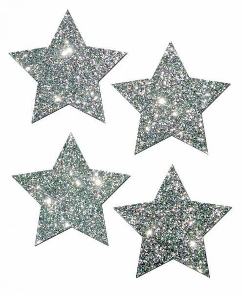 Petites Silver Glitter Star O/S 2 Pack Pasties