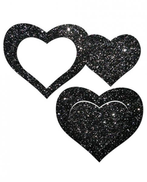 Pastease Glitter Peek A Boob Hearts Pasties Black
