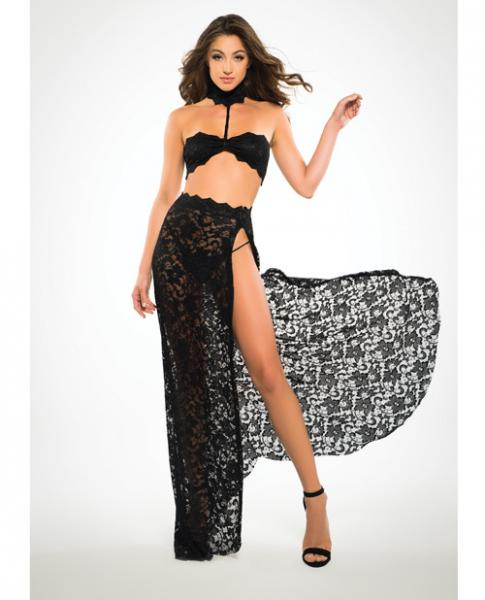 Adore Lace Bandeau Top & Skirt Black Small
