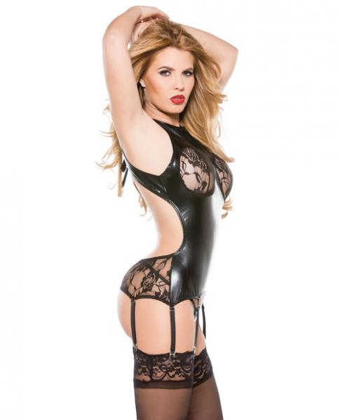 Kitten Lace Wet Look Corset Top Garters Black O/S