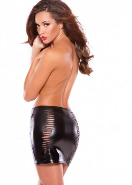 Wet Look Slashed Skirt Black O/S