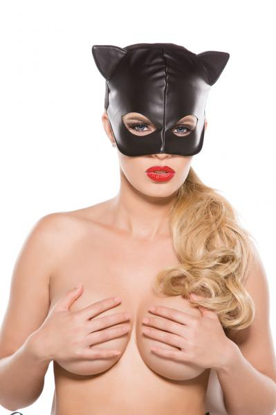 Black Faux Leather Cat Mask O/S